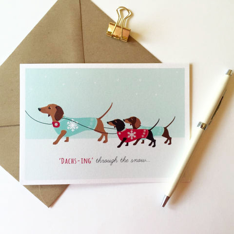 Dachshund Pack of 8 Christmas Cards