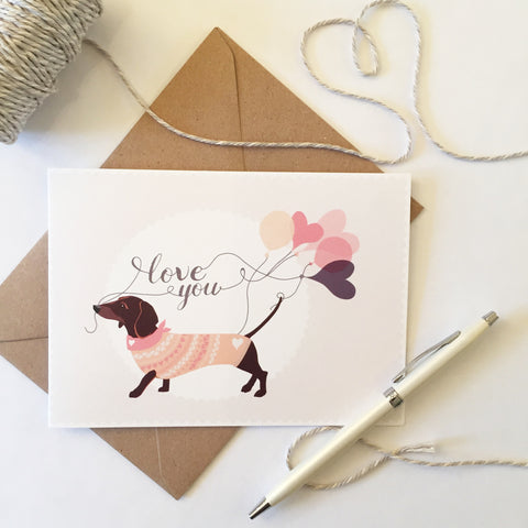 Dachshund 'Love You' Card