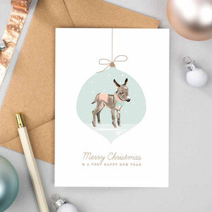 Donkey Bauble Christmas Cards
