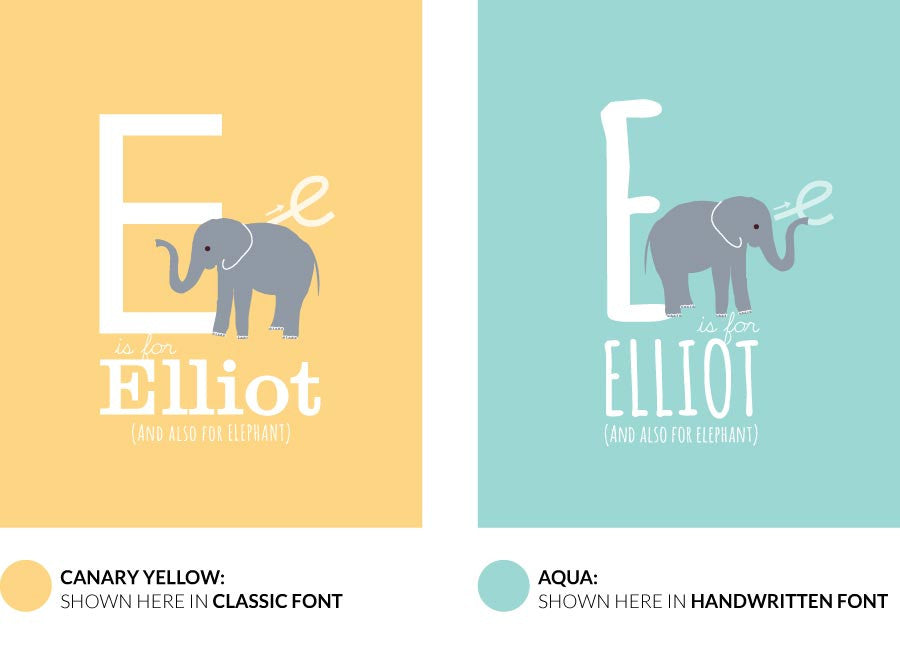 Colour variants for e is for elephant print showing design in canary yellow and aqua colour options.