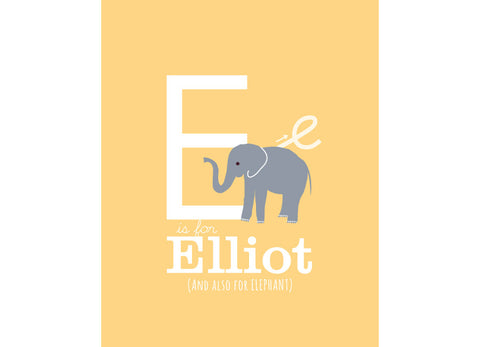 Illustration of an Elephant with E is for elephant and personalised childs name