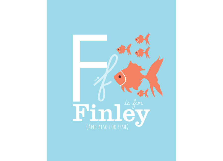 Illustration of an a Fish with F is for fish and personalised childs name