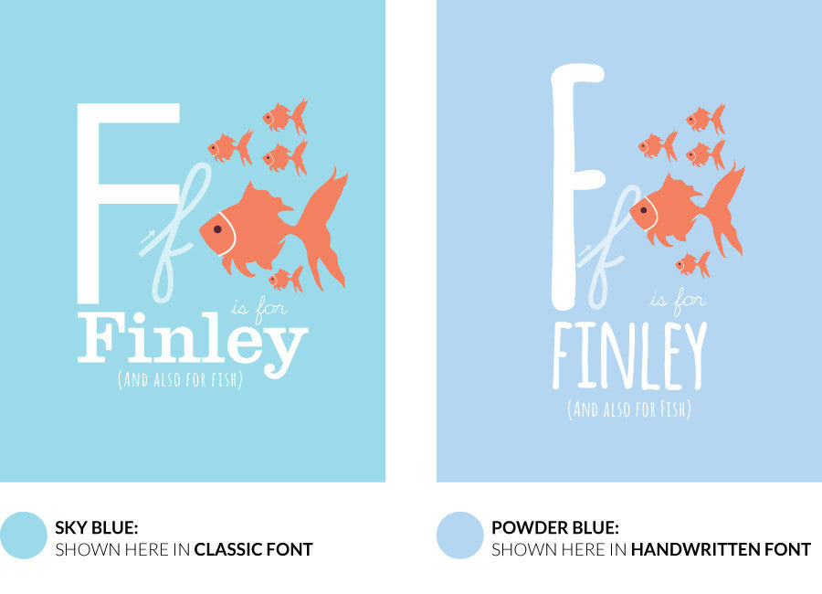 olour variants for f is for fish print showing the design sky blue and powder blue.