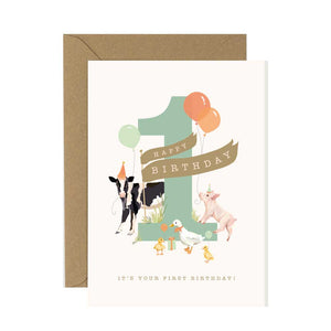 1st Birthday Card Farmyard Fiesta