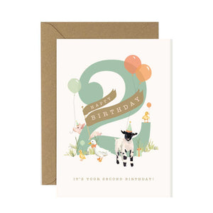 2nd Birthday Card Farmyard Fiesta