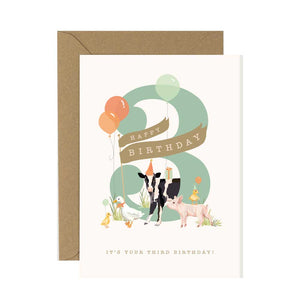 3rd Birthday Card Farmyard Fiesta