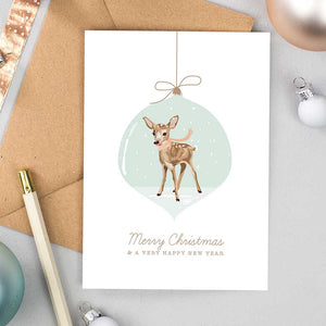 Fawn Bauble Christmas Cards