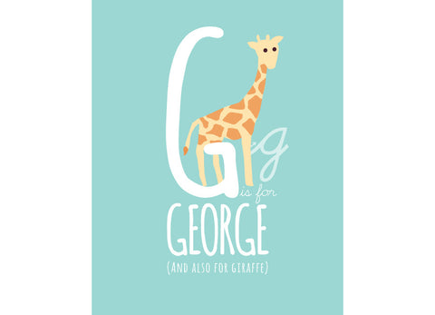 Illustration of a giraffe with g is for giraffe and personalised childs name