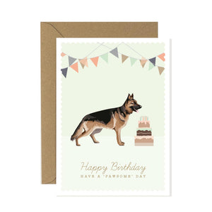 German Shepherd Happy Bithday Card featuring a german shepherd and birthday cake