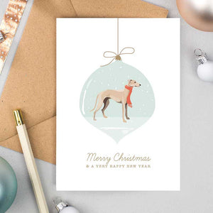 Greyhound Bauble Christmas Cards