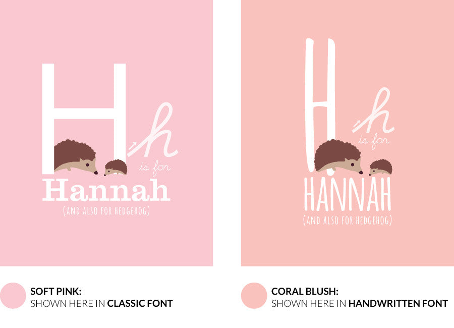 Colour variants for h is for hedgehog print showing the design in soft pink and coral blush.