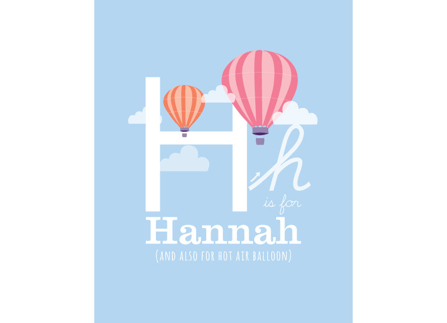 Illustration of an Hot Air Balloon with H is for hot air balloon and personalised childs name
