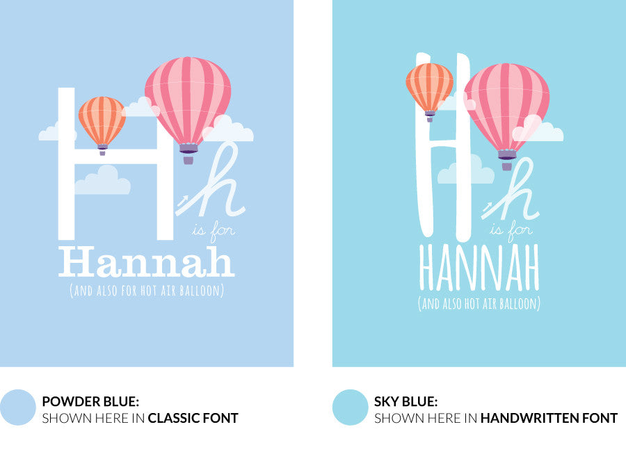 Colour variants for h is for hot air balloon print showing the design in powder blue and sky blue.