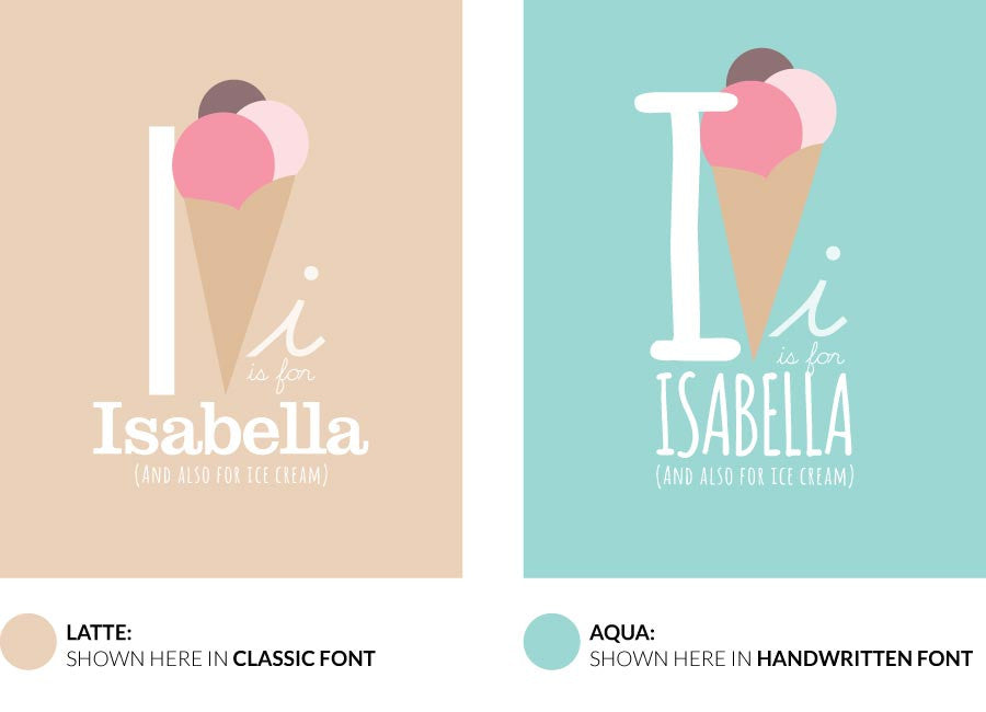 Colour variants for I is for Ice Cream print showing the design in Latte and Aqua.