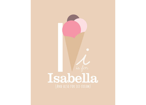 Illustration of an Ice Cream with I is for Ice Cream and personalised childs name