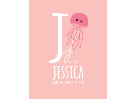 Illustration of a Jellyfish with J is for Jellyfish and personalised childs name