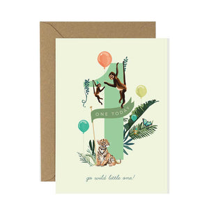 1st Birthday Card Jungle Jamboree