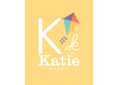 Illustration of a Kite with K is for Kite and personalised childs name