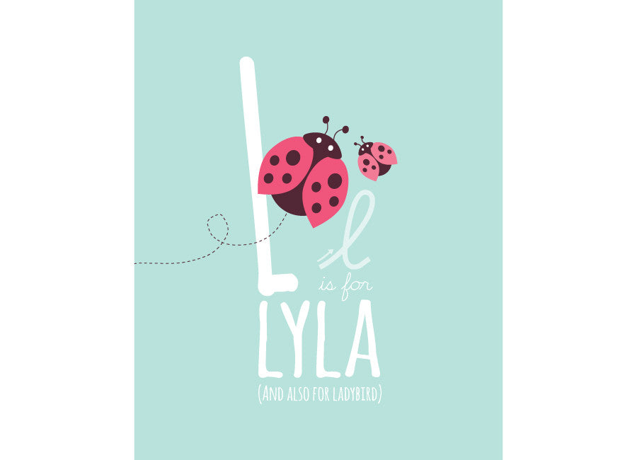Illustration of a ladybird with l is for ladybird and personalised childs name