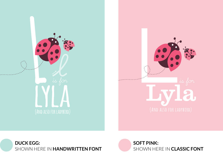 Colour variants for l is for ladybird print showing the design in duck egg and soft pink.