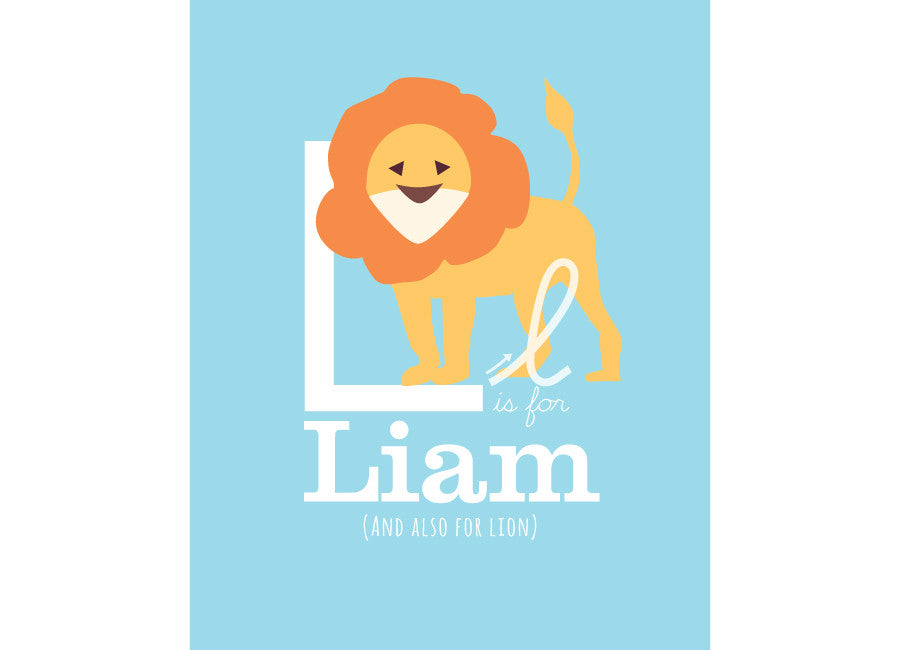 Illustration of a lion with l is for lion and personalised childs name