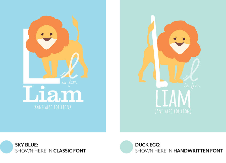 Colour variants for l is for lion print showing the design in sky blue and duck egg.