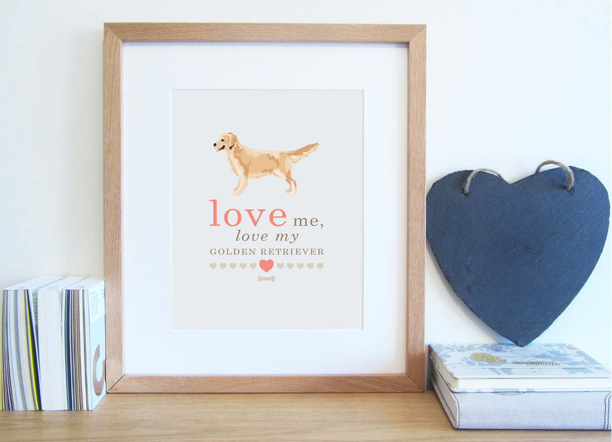 Love me, love my dog typography print with illustrated Golden Retriever in cappuccino and coral colour scheme.