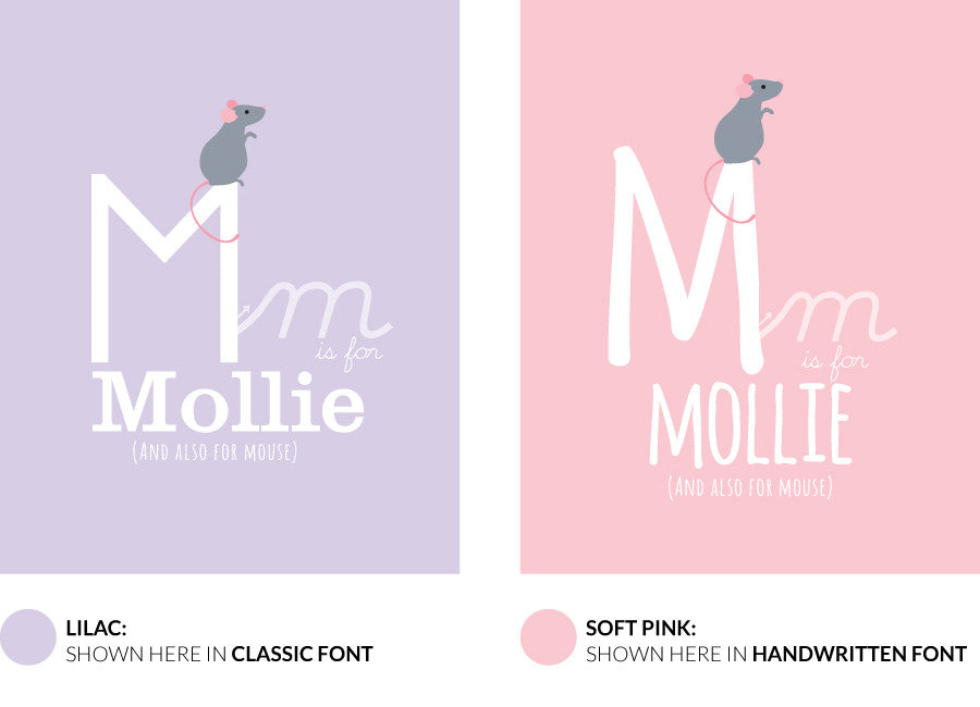 Colour variants for m is for mouse print showing the design in lilac and soft pink.