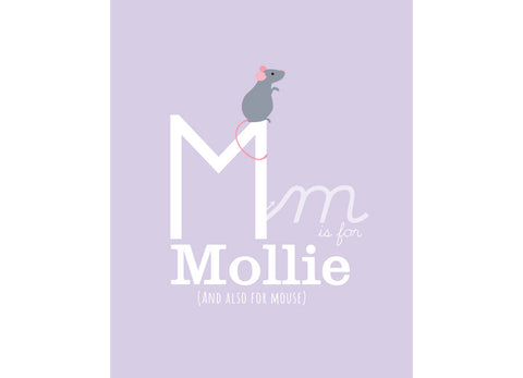 Illustration of a mouse with m is for mouse and personalised childs name