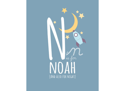 Illustration of a night's sky with n is for night and personalised childs name