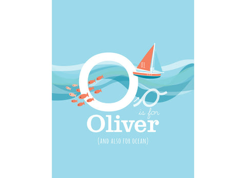 Illustration of the ocean with o is for ocean and personalised childs name