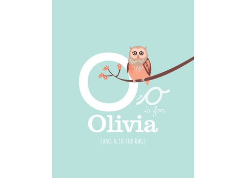 Illustration of an owl with o is for owl and personalised childs name