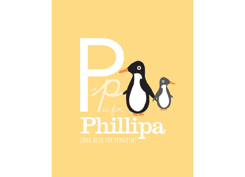 Illustration of a penguin with p is for penguin and personalised childs name