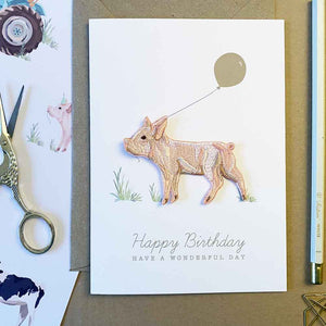 Piglet Iron On Patch Birthday Card