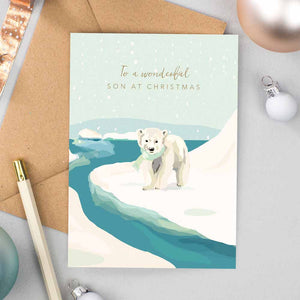 Special Son Polar Bear Christmas Card
