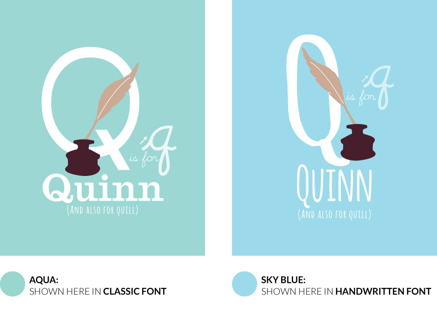 Colour variants for q is for quill print showing the design in aqua and sky blue