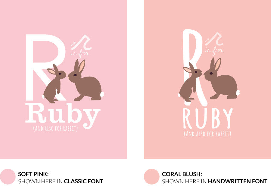 Colour variants for r is for rabbit print showing the design in soft pink and coral blush.