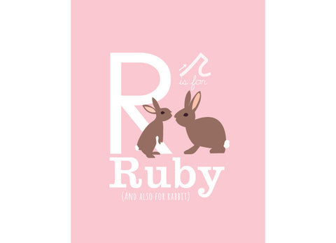 Illustration of a rabbit with r is for rabbit and personalised childs name