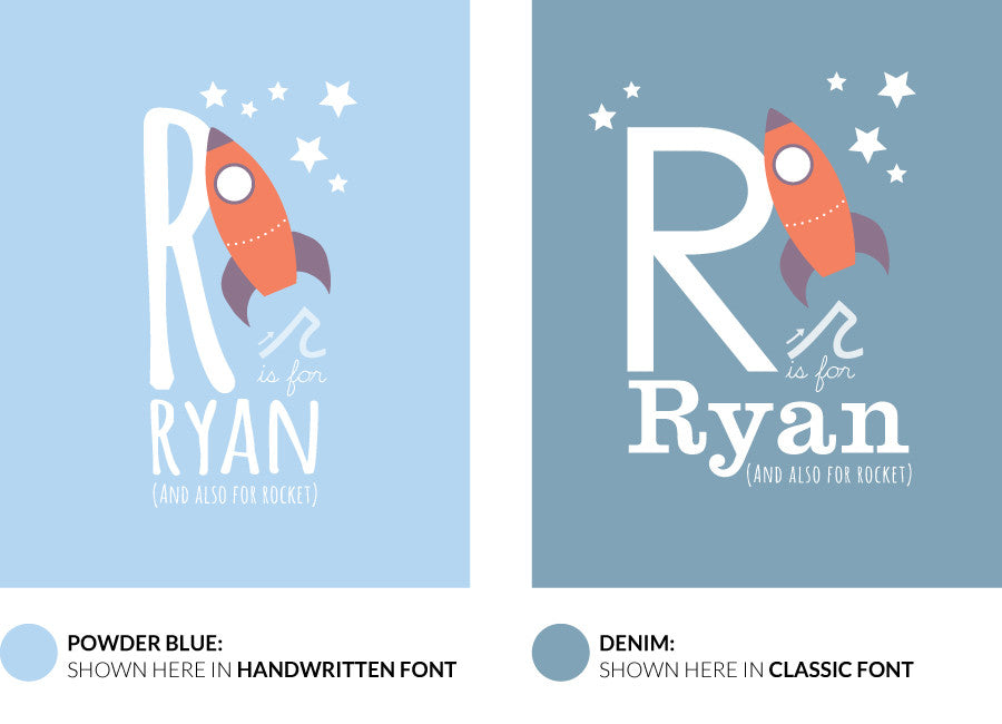 Colour variants for r is for rocket print showing the design in powder blue and denim.