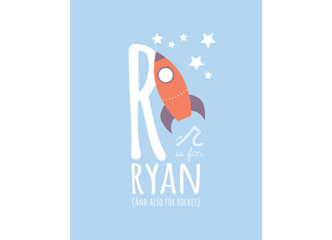 Illustration of a rocket with r is for rocket and personalised childs name