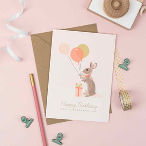 Rabbit with colourful ballons, Rabbit birthday card, childrens birthday cards.