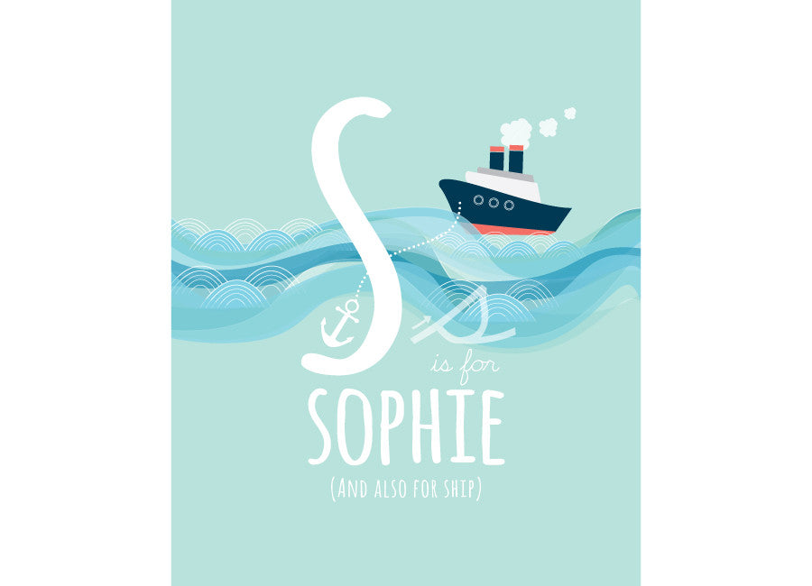 Illustration of a ship with s is for ship and personalised childs name