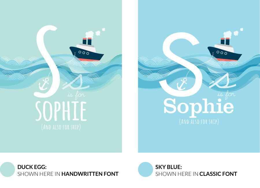 Colour variants for s is for ship print showing the design in duck egg and sky blue.