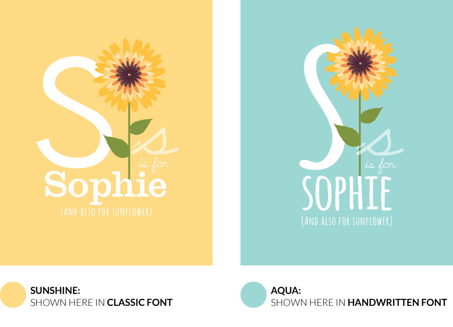 Colour variants for s is for sunflower print showing the design in sunshine and aqua.