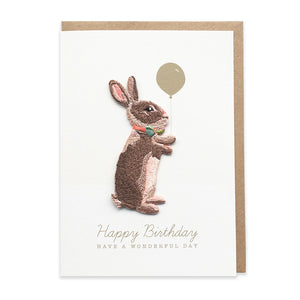Rabbit Embroidered Iron On Patch Birthday Card