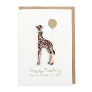 Giraffe Embroidered Iron On Patch Birthday Card