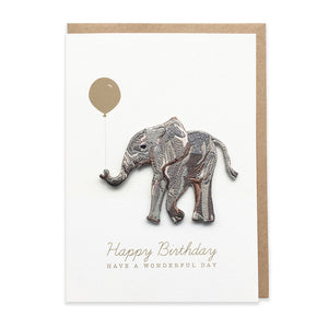 Elephant Embroidered Iron On Patch Birthday Card