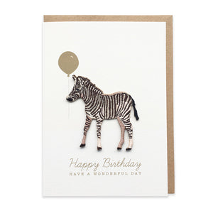 Zebra Embroidered Iron On Patch Birthday Card
