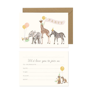 Safari Animals Party Invites