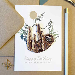 Sloth Iron On Patch Birthday Card